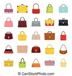 bags set, flat icons
