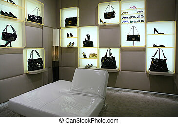 Bags, shoes and glasses in store