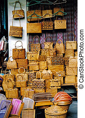 Bags for sale at an outdoor market