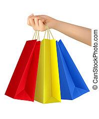 bags., vrouwlijk, kleurrijke, hand houdend, shoppen , vector.