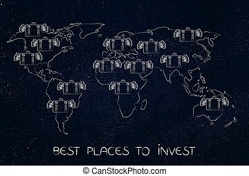 bags with cash over a map of the world, places to invest