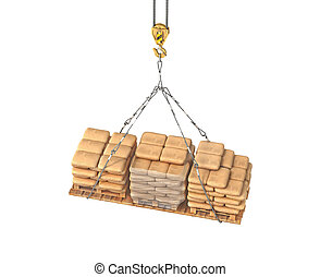 bags with cement on the tap 3d illustration
