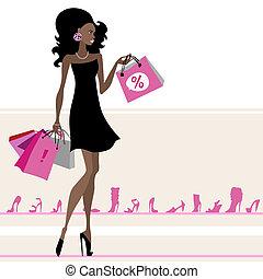bags., woman bevásárol