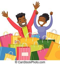 bags., zittende , paar, jonge, afrikaan, shoppen