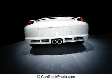 bagside udsigt, i, en, konvertibel, sportscar
