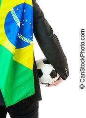 bagside udsigt, i, forretningsmand, hos, soccer bold, og, flag brasilien