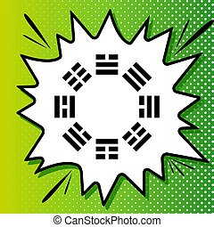 bagua, blanco, negro, popart, fondo verde, icono, signo., ...