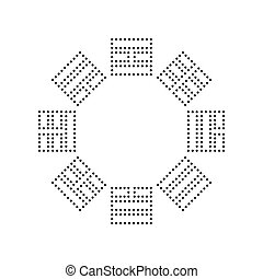 Bagua sign. Vector. Black dotted icon on white background. Isolated.