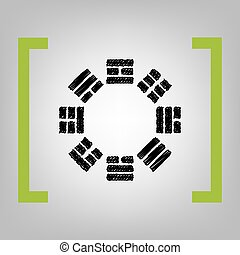 Bagua sign. Vector. Black scribble icon in citron brackets on grayish background.