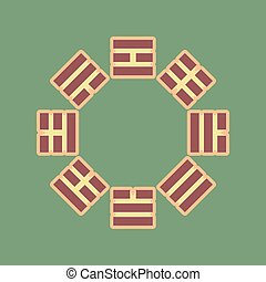 Bagua sign. Vector. Cordovan icon and mellow apricot halo with l
