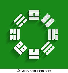 Bagua sign. Vector. Paper whitish icon with soft shadow on green background.