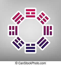 Bagua sign. Vector. Purple gradient icon on white paper at gray background.