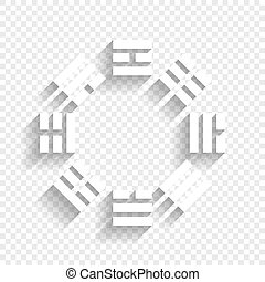 Bagua sign. Vector. White icon with soft shadow on transparent background.