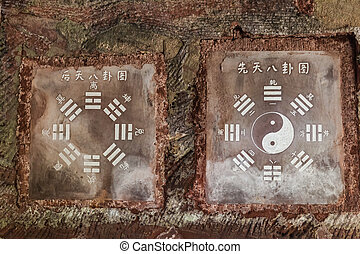 """Bagua symbols on stone - The Primordial """"Earlier Heaven"""" or..."""