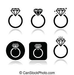 bague fiançailles, vecteur, icône, diamant