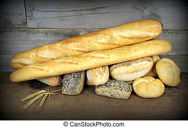 Baguette and various breads