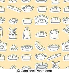 baguette, assando, torta, restaurante, menus, bakery., pattern., seamless, windmill., fresco, ornamento, jogo, saco, cheesecakes., sinais, pães, textura, pão, refeição., cheburek., flour.
