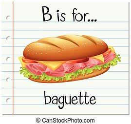 baguette, b, carta, flashcard