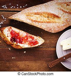 baguette, bakgrund, Trä, Fransk, delad, jordgubbe, marmelad, nytt, bakat