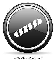 baguette black circle glossy web icon