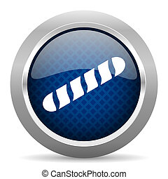baguette blue circle glossy web icon on white background, round button for internet and mobile app
