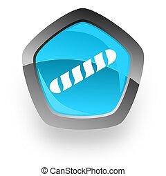 baguette blue metallic chrome web pentagon glossy icon