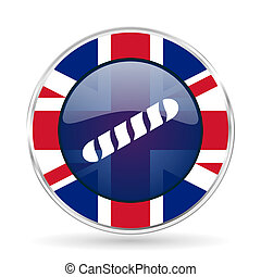 baguette british design icon - round silver metallic border button with Great Britain flag
