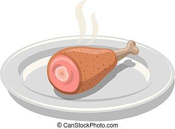 baguette, chaud, poulet