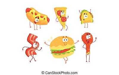 baguette, collection, dessin animé, vecteur, caractères, menu, hamburger, rigolote, illustration, restaurant, tako, frit, pizza, nourriture, chien, chaud, conception, poulet, ou, jambon, élément, café, jeûne, couper
