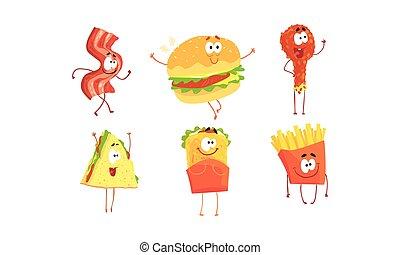 baguette, collection, dessin animé, vecteur, caractères, menu, hamburger, rigolote, shawarma, illustration, frire, restaurant, nourriture frite, francais, conception, poulet, ou, sandwich, jambon, élément, café, jeûne, couper