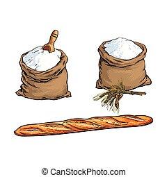 baguette, croquis, ensemble, pain, farine, vecteur, sac