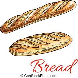 baguette, croquis, pain, long, pain français