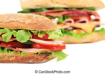 baguette, francés, sandwich., fresco