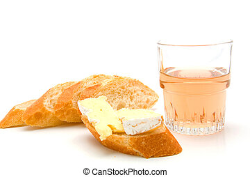 baguette, french cheese and rose wine