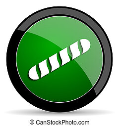 baguette green web glossy icon with shadow on white background