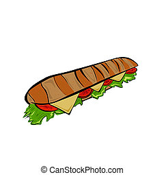 Baguette - Vector illustration : Baguette on a white...