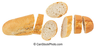 baguette isolated on white background. With Clipping Path. Top view