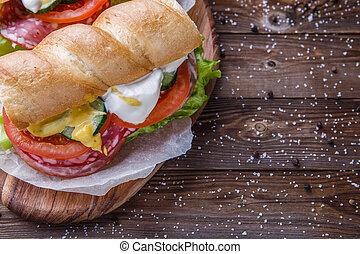 baguette, legumes, pequeno almoço, linguiça
