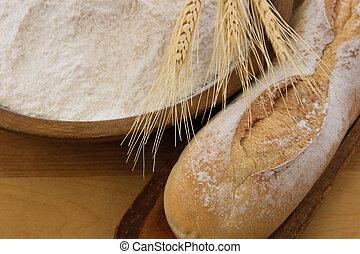 baguette, lleno, crujiente, de madera, harina, tazón, bread