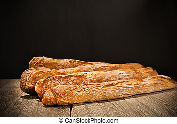 baguette on a dark background