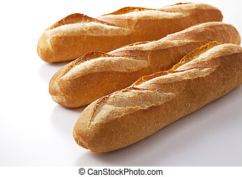 Baguette on white background.