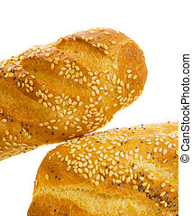 Baguette over white background