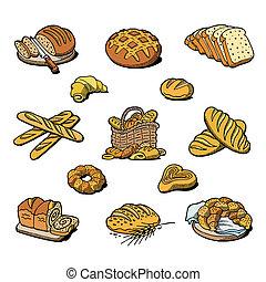 baguette, pain, ensemble, cuisson, cuit, boulanger, isolé,...
