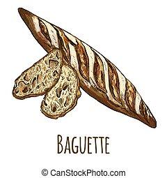 baguette, pain, tranches