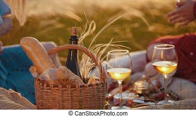 baguette, pique-nique, -, deux, conversation, bouteille, panier, vin., avoir, femmes