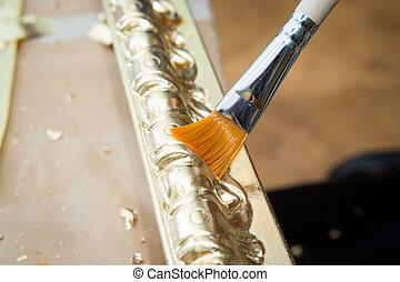 baguette, plafond, or, couleur, main, brosse, femme, peinture