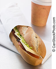 baguette, salade, loin, cheddar, coffe, prendre, saumure, fromage