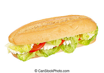 Baguette sandwich - A baguette sandwich with lettuce, ...