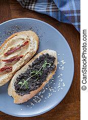 Baguette sandwich with paste