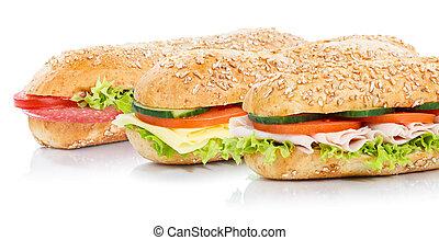 Baguette sub sandwiches salami ham cheese